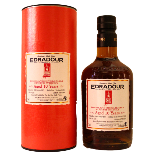 Edradour 10 Jahre 2007 2018 Oloroso Sherry Cask #335 bottled for Red Hot Chilli Pipers 60,6% 0,7l